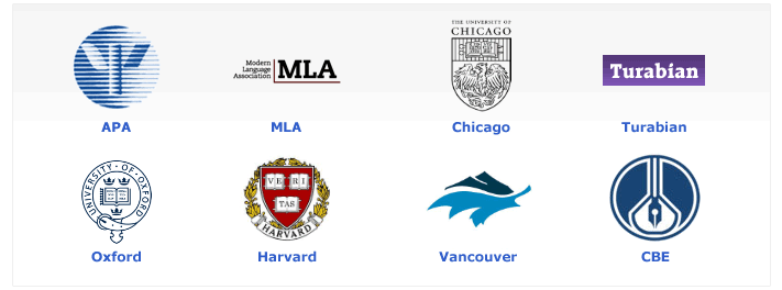 Citation styles: APA, MLA, Chicago, Turabian, Oxford, Harvard, Vancouver, CBE